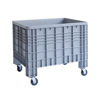 Plastic pallet 1200x800x800mm - 4 wheels, closed side walls and bottom