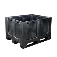 Plastic pallet recyclate 1200x1000x760mm - 3 skids, closed side walls and bottom
