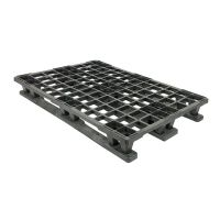 Plastic export pallet, 3 skids, 1200x800x152mm - upright edge