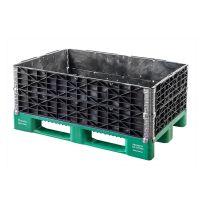 Plastic pallet edge 1200x800x200mm - 4 hinges