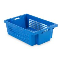 Nestable rotary stacking 600x400x200mm - perforated bottom and side walls