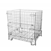 Folding metal wire container 1200x1000x1200mm - galvanized