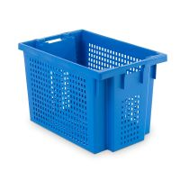 Nestable stacking swivel 600x400x400mm - perforated with two open handles