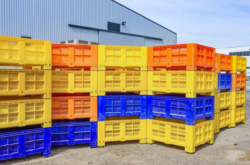 Plastic crates stored in a warehouse