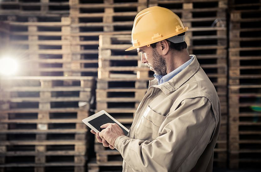 The logistics specialist in the warehouse evaluates the cost of purchasing new pallets